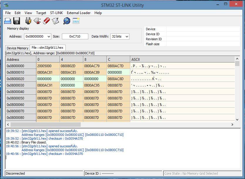 STM32 ST-LINK Utility  с открытым файлом