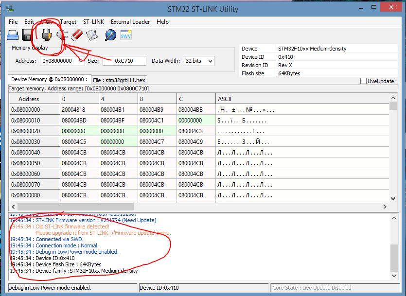STM32 ST-LINK Utility  подключение к микроконтроллеру