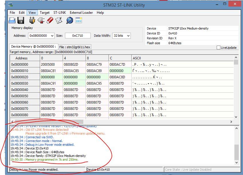 STM32 ST-LINK Utility  процесс заливка прошивки