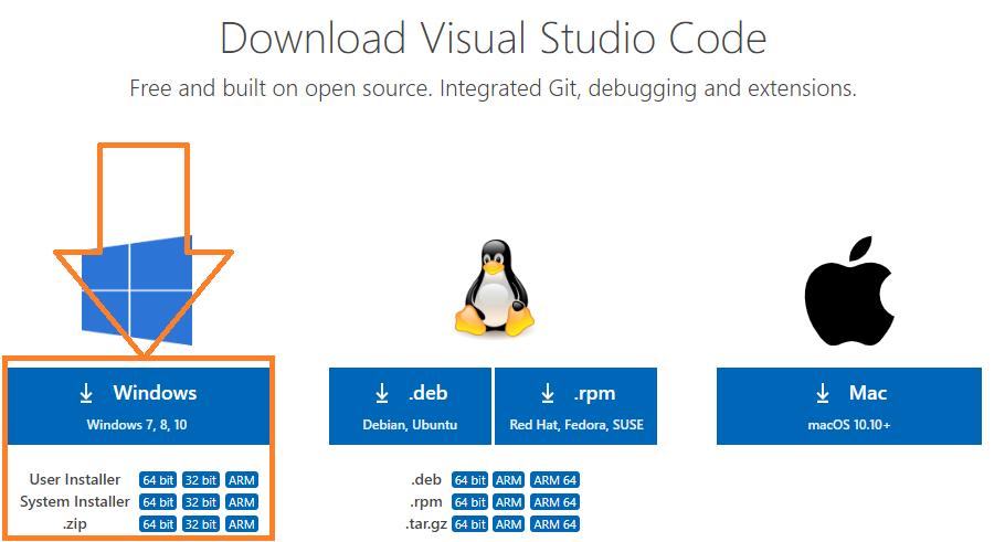 Выбор операционной системы Wisuat studio code