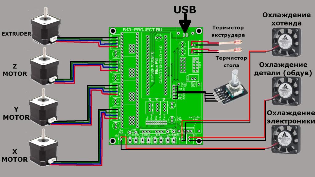 Подключение шаговых двигателей и вентиляторов обдува к управляющей плате 3D принтера